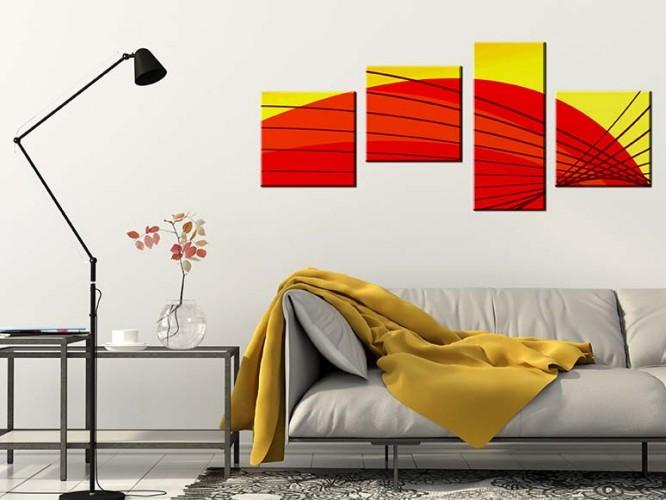 Obraz na płótnie czteroczęściowy - czerwono żółta abstrakcja