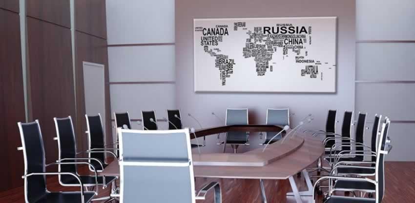 Obraz na płótnie z motywem mapy z nazwami krajów
