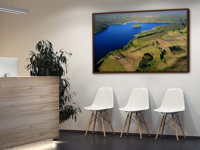 Obraz w ramie z krajobrazem do biura - Widok z góry na Mazury