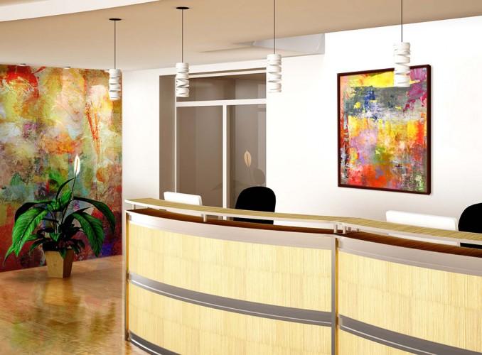 Obraz na płótnie do hotelu z abstrakcją w ciepłej kolorystyce