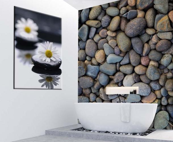 Obraz na płótnie do łazienki z białymi kwiatkami na kamieniach