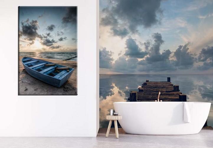 Obraz na płótnie do łazienki - łódka nad jeziorem