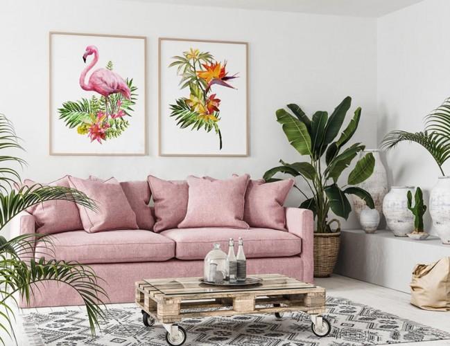 Obraz do pokoju - Flaming i egzotyczne rośliny