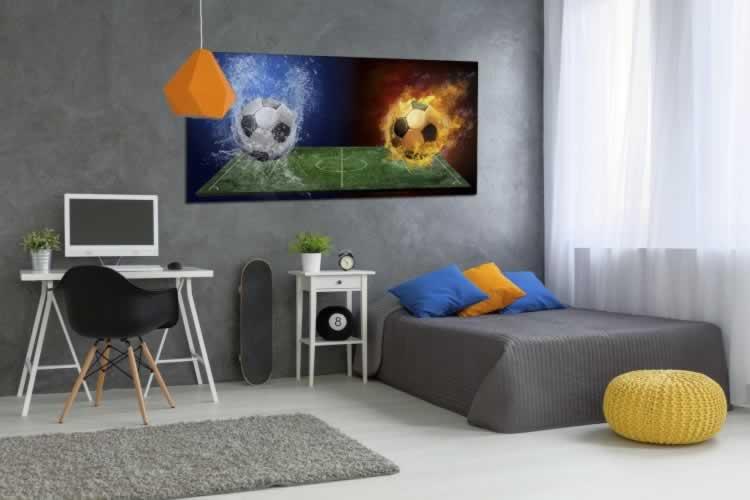 Obraz na płótnie do pokoju chłopca z motywem piłki nożnej