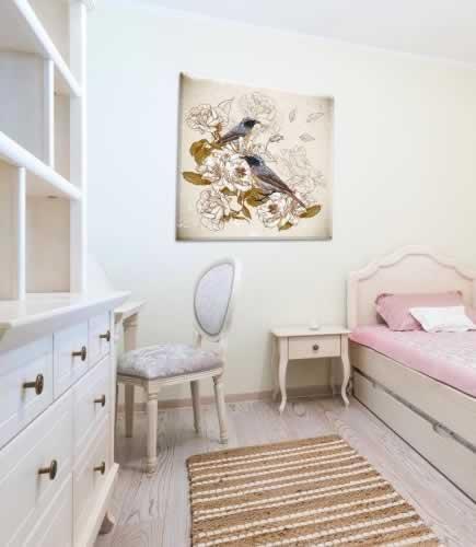 Obraz na płótnie do pokoju dziewczyny w stylu vintage z motywem ptaków