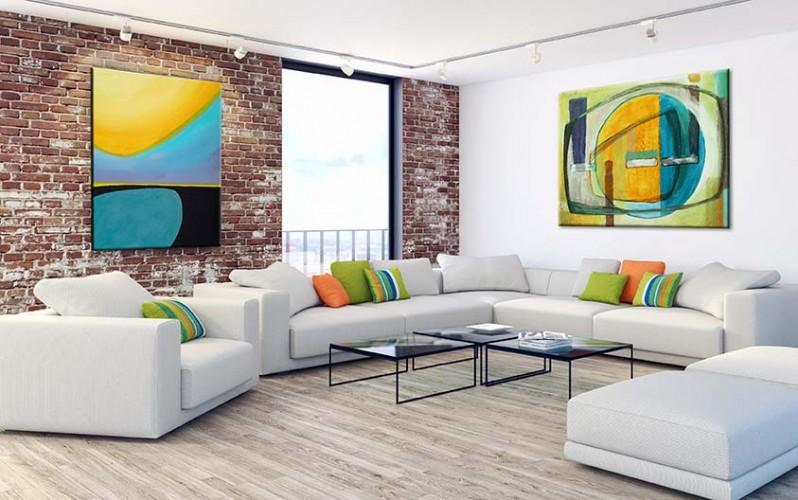 Obraz na płótnie do salonu - kompozycja abstrakcyjna w błękitach i żółciach