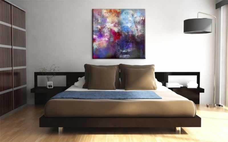 Obraz na płótnie do sypialni z kolorową abstrakcją