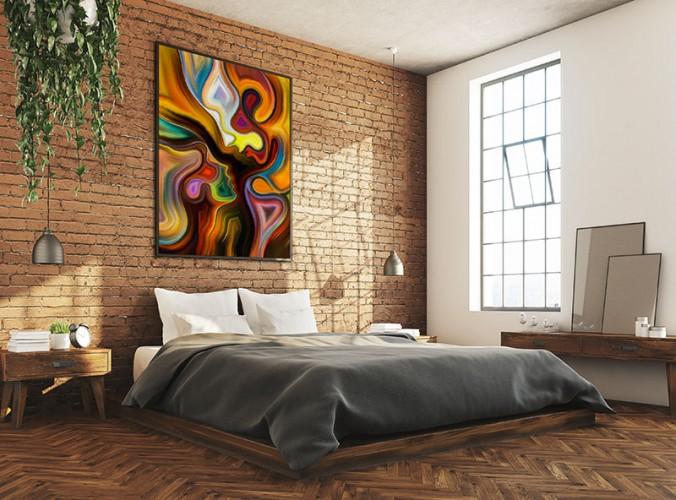 Kolorowy obraz abstrakcyjny z wizerunkiem kochanków