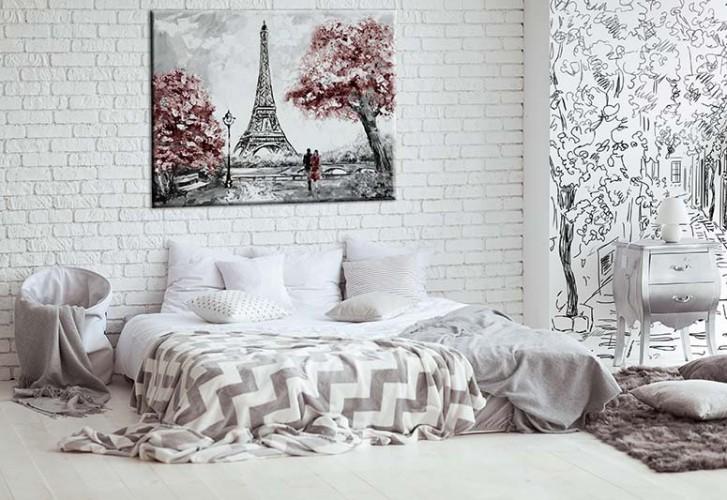 Obraz na płótnie do sypialni - spacerująca para w Paryżu
