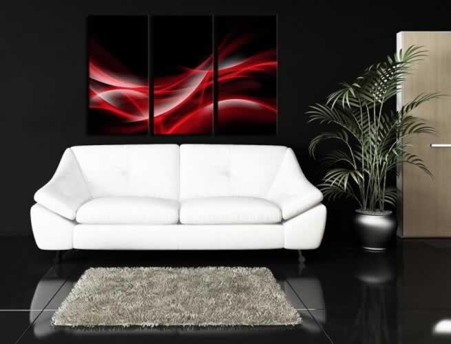 Obraz na płótnie z motywem czerwonego dymu na czarnym tle (tryptyk)