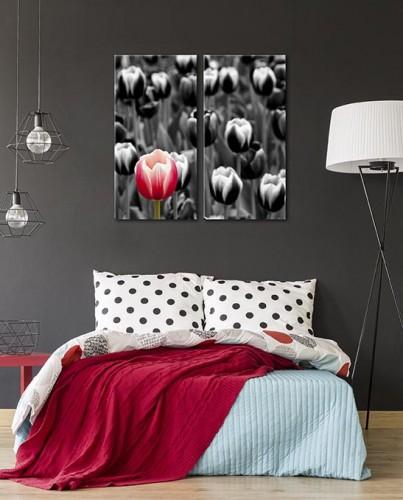 Dyptyk obraz na płótnie - czarno-białe tulipany