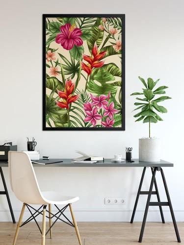Obraz na płótnie z egzotycznymi kwiatami