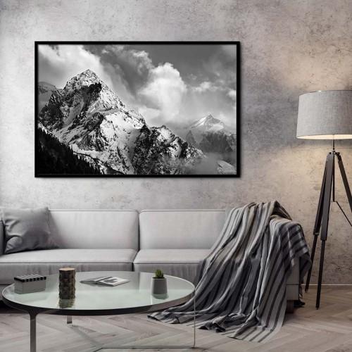 Obraz czarno-biały z górami