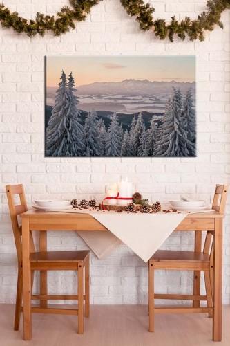 Obraz na płótnie - piękny zimowy krajobraz z widokiem na góry Tatry