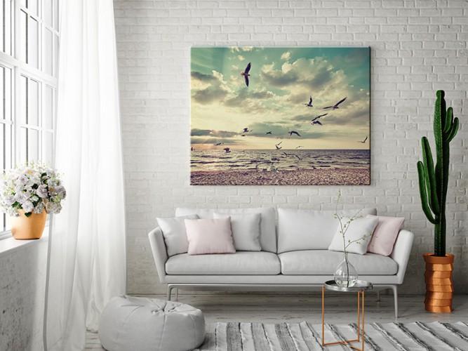 Obraz z krajobrazem morskim i mewami