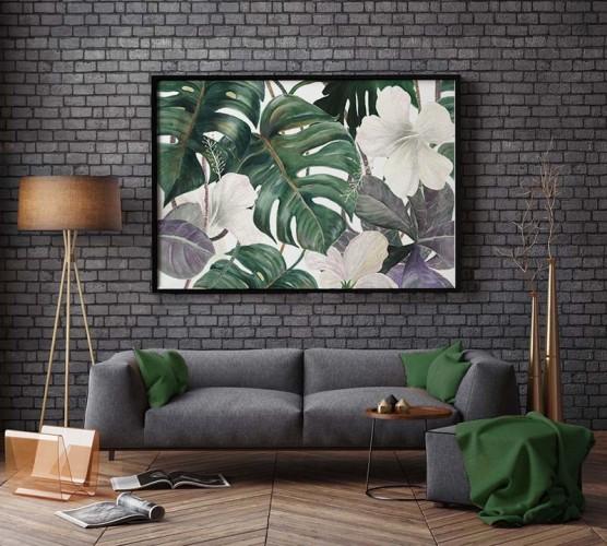 Obraz z kwiatami i liśćmi egzotycznymi
