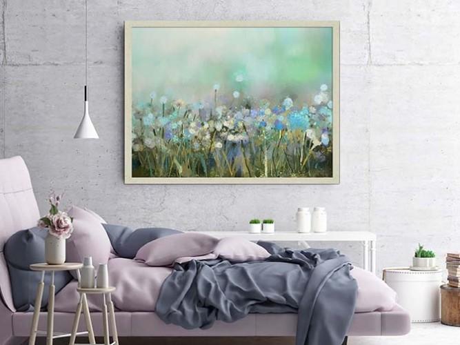 Obraz na płótnie z łąką niebieskich kwiatów