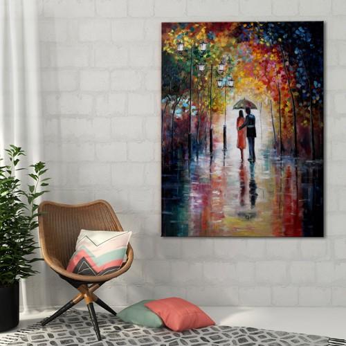 Obraz na płótnie z parą zakochanych pod parasolem