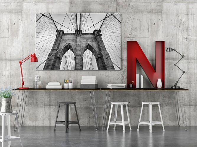 Obraz z mostem brooklińskim do wnętrza w stylu industrialnym