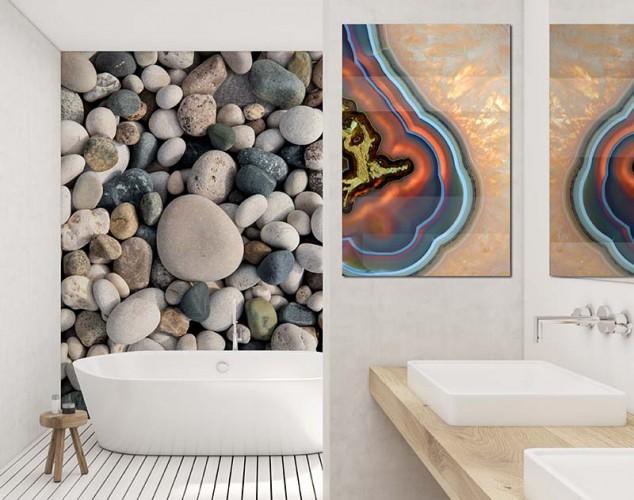 Obraz na plexi z kolorowym kamieniem do łazienki
