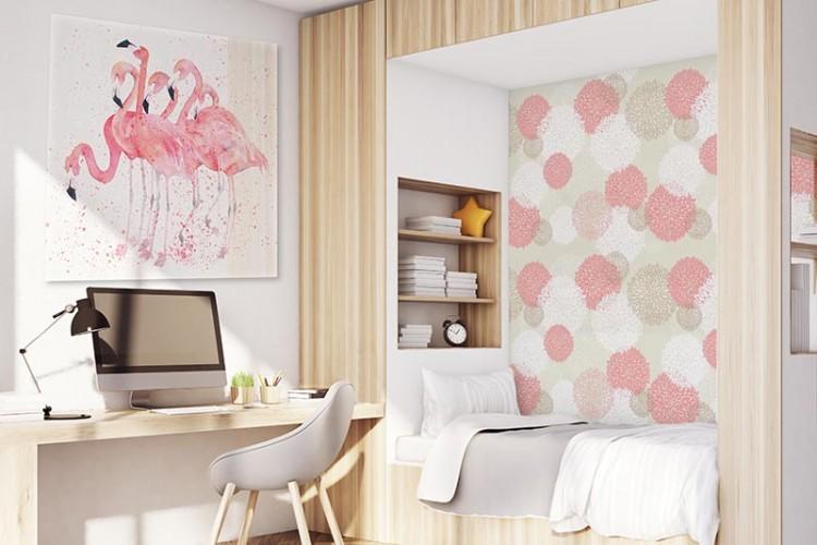 Obraz na plexi z flamingami do pokoju dziewczyny