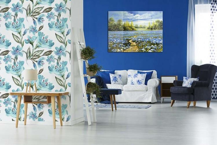 Obraz na plexi z niebieską łąką do salonu
