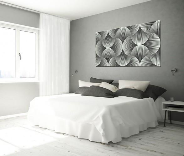 Obraz na szkle z czarno-białą abstrakcją do hotelu