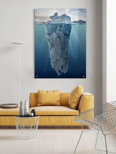 Obraz na szkle z górą lodową w stylu industrialnym