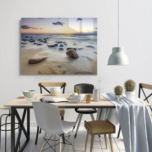 Obraz szklany w stylu marynistycznym - Zachód słońca nad bałtycką plażą