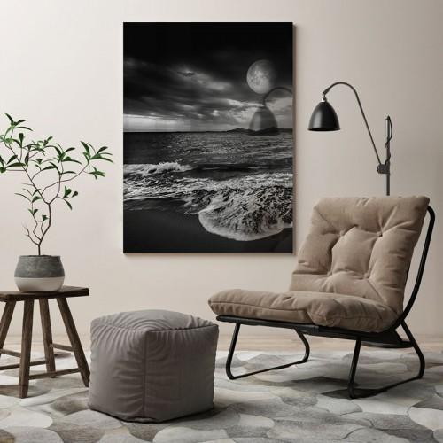 Czarno-biały obraz na szkle - Morski krajobraz z księżycem