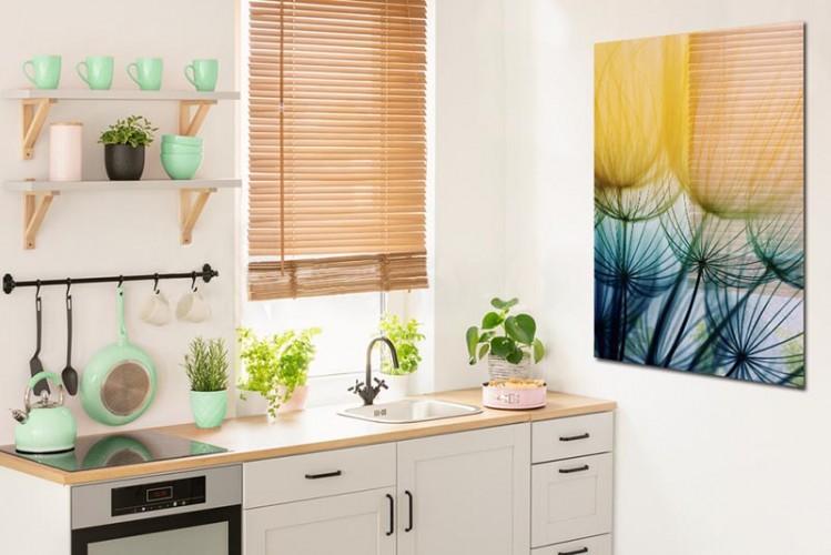 Obraz na szkle do kuchni - Kolorowe dmuchawce