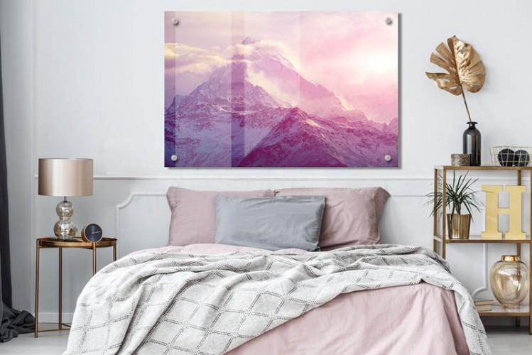 Obraz na szkle do sypialni - Romantyczny krajobraz z górami