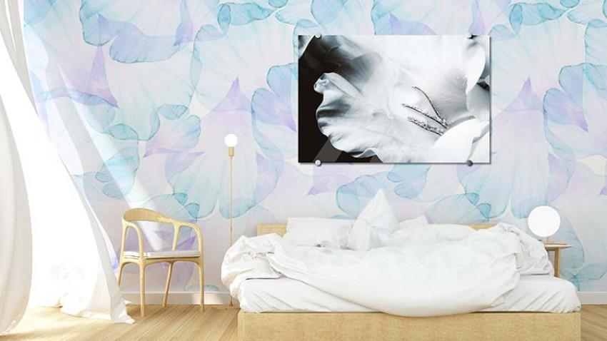 Obraz szklany z motywem białego kwiatu
