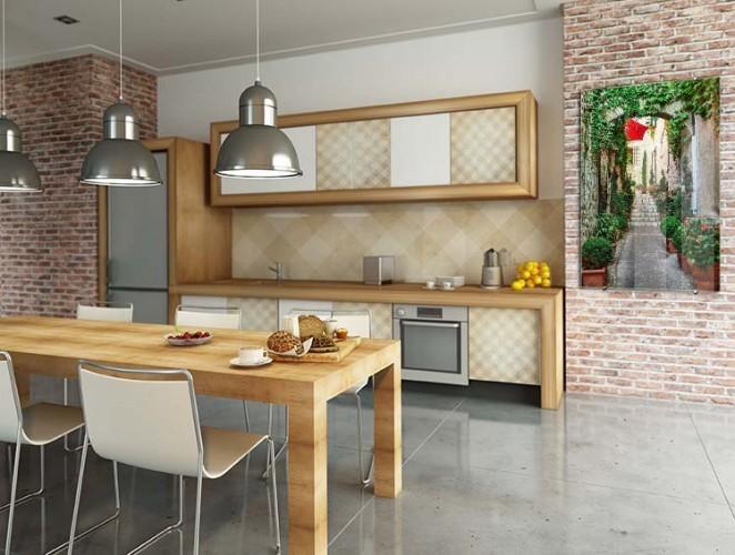 Obraz na szkle z uliczką do kuchni