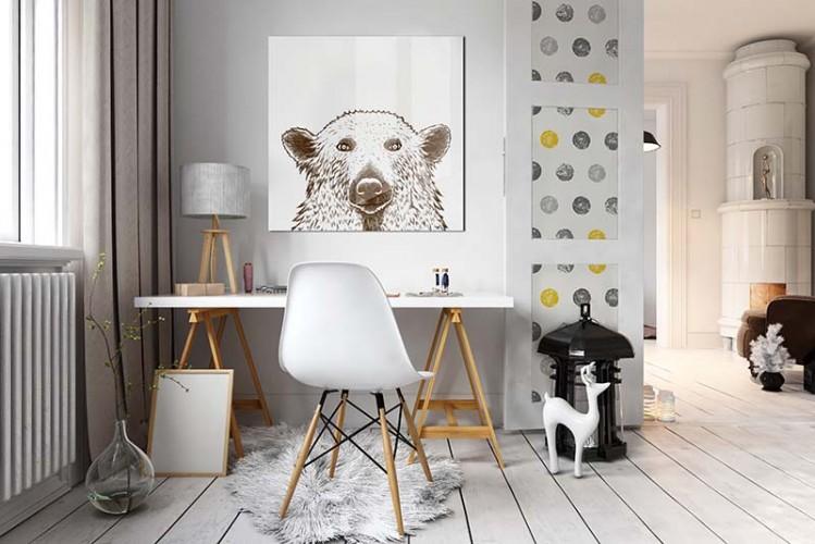 Obraz szklany z niedźwiedziem