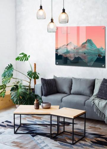 Obraz na szkle w stylu współczesnym - Góry w grafice 3D
