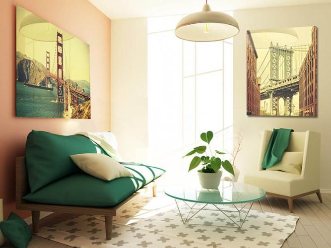 Obraz na szkle w stylu vintage - Stara fotografia retro z Golden Gate
