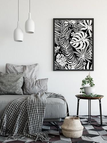 Czarno-biały obraz na płótnie z liśćmi palmy