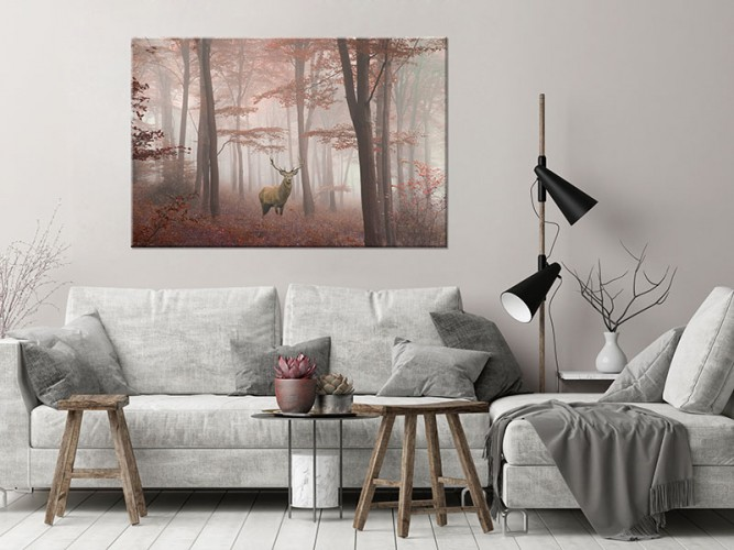 Obraz na płótnie z jeleniem w lesie we mgle