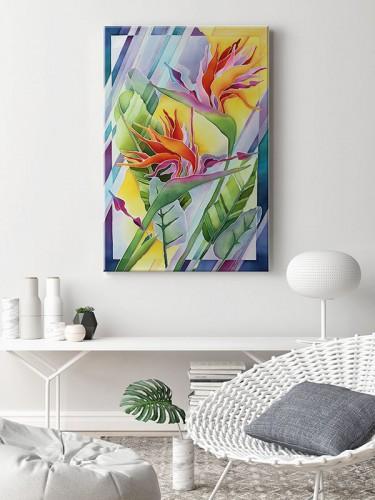 Obraz na płótnie z malarskimi kwiatami