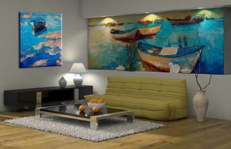 Obraz na płótnie jak malowany z motywem łódki na rzece
