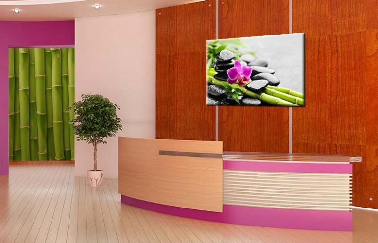 Obraz na płótnie do salonu kosmetycznego z motywem bambusa i orchidei