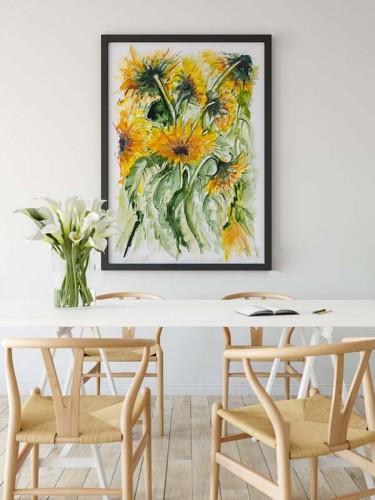 Obraz ze słonecznikami do jadalni