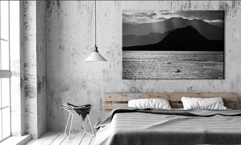 Czarno-biały obraz na płótnie - Jezioro w Gwatemali