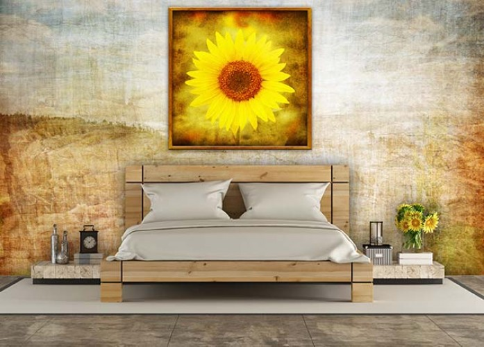Obraz na płótnie w ramie ze słonecznikiem w stylu grunge