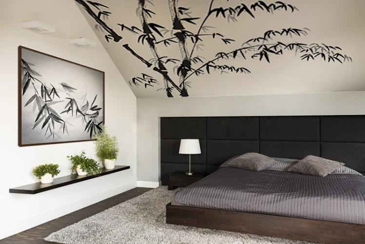 Obraz na płótnie z ptakami i bambusem w stylu japońskim.