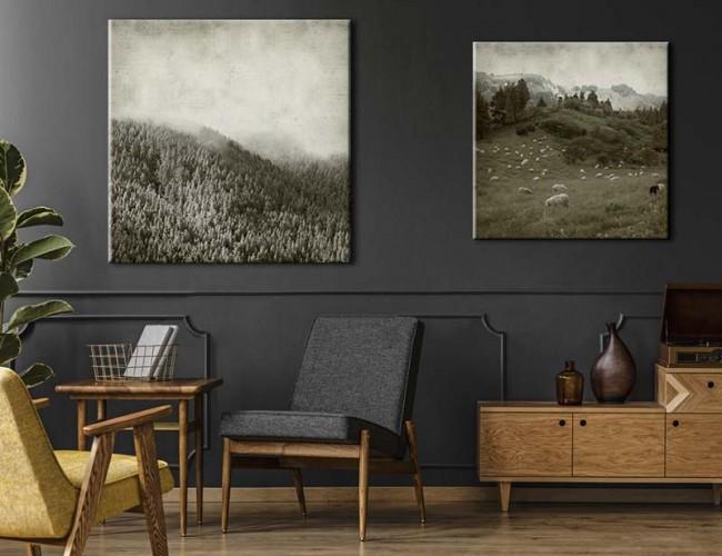 Obraz na płótnie w stylu retro - Krajobraz z lasem