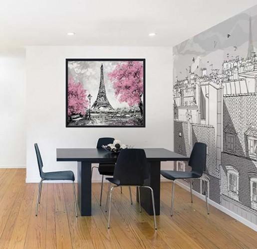 Obraz na płótnie z motywem wieży Eiffla oprawiony w czarną ramę