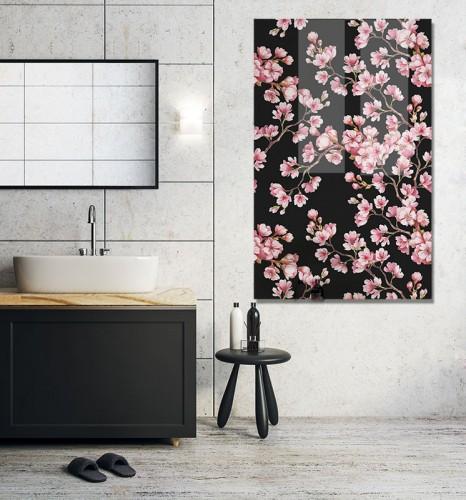 Obraz na szkle z kwiatami wiśni do lazienki