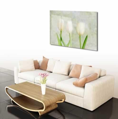 Obraz na szkle z białymi tulipanami